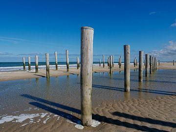 Palendorp met blauwe lucht aan het strand van Petten aan Zee van Karin Schijf