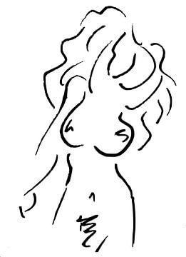 Abstrakte Arbeit - nackte Frau in Lineart von Emiel de Lange