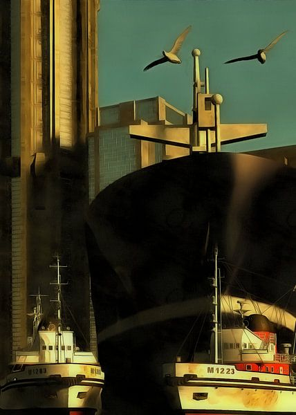 Retro – Klassiek Haven met sleepboten van Jan Keteleer