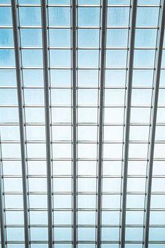Detailaufnahme des Glasdaches des hochmodernen Bahnhofs Lüttich - Guillemins von Daan Duvillier