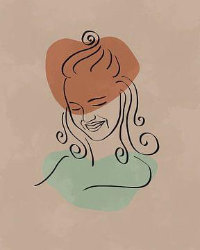 Minimalistisch design met een lijn tekening van een vrouwelijk gezicht met lang haar van Tanja Udelhofen
