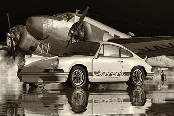 Schwarzweiß-Foto eines Porsche Carrera von Jan Keteleer