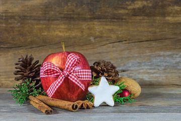 Traditionele kerstversiering met rode appel van Alex Winter