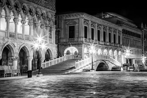 VENICE Riva degli Schiavoni by Night black and white   Monochrome