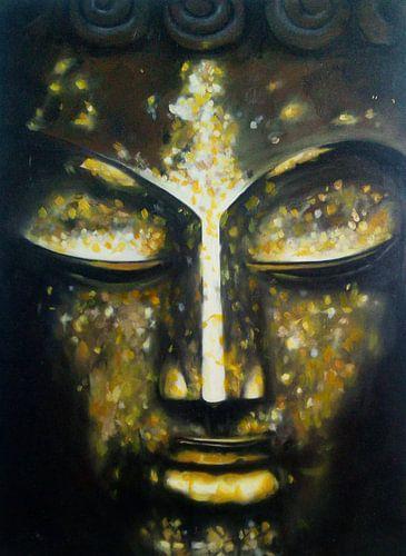 Buddha, golden 2017 - Media-Mix on wood