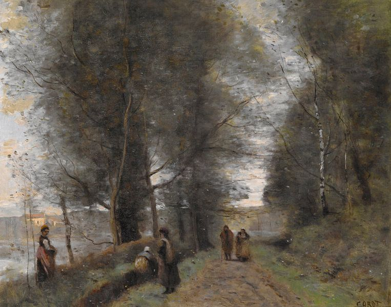 Ville d'Avray, Forststraße am Rande des Teiches, Jean-Baptiste-Camille Corot von Meesterlijcke Meesters