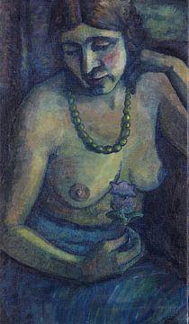 Selbstporträt in Blau (Halbakt mit Perlenkette), Dorothea Maetzel-Johannsen, Um 1917-1922 von Atelier Liesjes