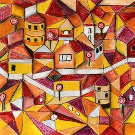 Tekening met pastelkrijt van stad in rood en geel van Marianne van der Zee