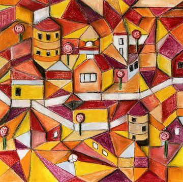 Zeichnung mit Pastellkreide der Stadt in Rot und Gelb von Marianne van der Zee