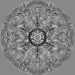Mandala grafisch, zwart-wit van