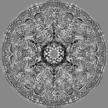 Mandala graphique, noir et blanc sur Rietje Bulthuis