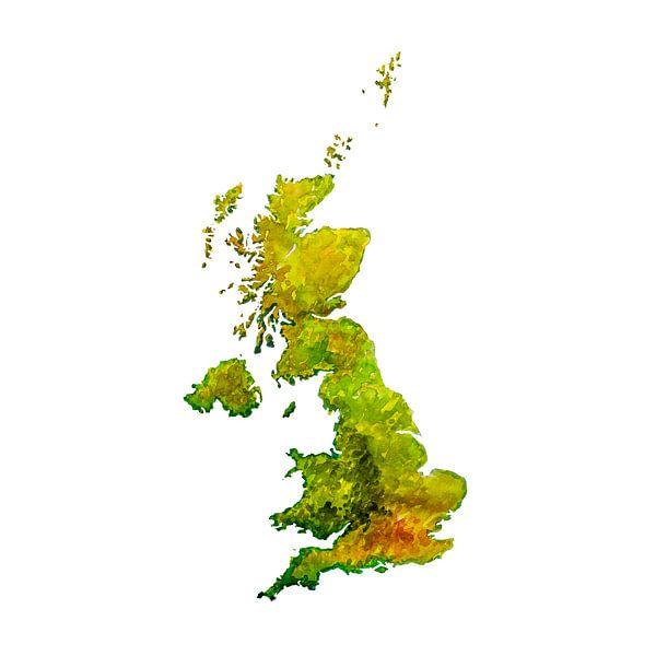 Groot Brittannië | Landkaart in aquarel | Ook als Wandcirkel van Wereldkaarten.Shop