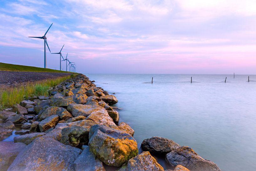 Windmolens langs de dijk van Mark Scheper