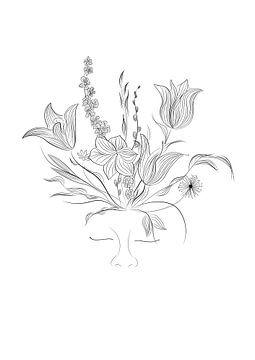 Flower power - bloemen - planten - zwart wit - portret van Studio Tosca