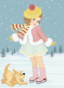 Schattig meisje op de schaats met een hond van Atelier Liesjes