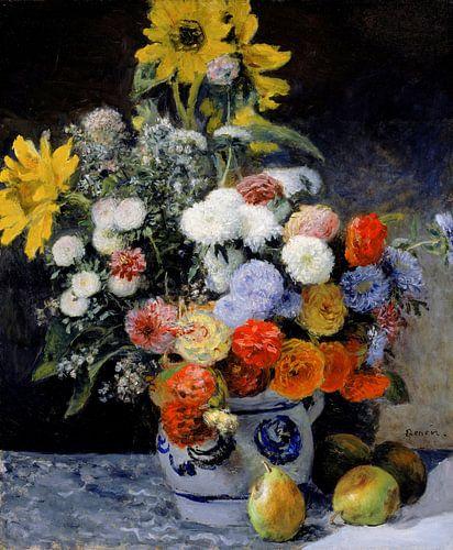 August Renoir.  Gemengde bloemen in een pot
