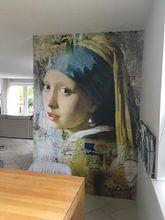Photo de nos clients: Girl with a Pearl Earring - a Mural sur Marja van den Hurk, sur fond d'écran
