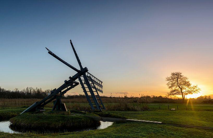 Tjasker molen in de Weerribben van Sjoerd van der Wal