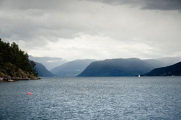 Fjord met regenstorm in Noorwegen van Karijn Seldam