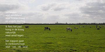 Weiland met koeien met poëzie von Bargo Kunst