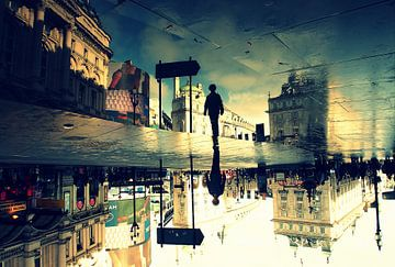 Londen - Piccadilly Circus na een regenbui - surrealistisch van
