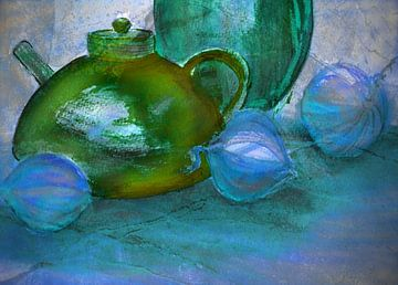 Kannen en uien in het blauw van Claudia Gründler