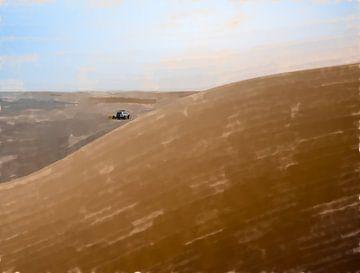Camp in der Ferne hinter einer Sanddüne im Sudan von Frank Heinz