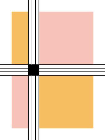 Stripes and Squares Abstracte Print van Michelle van Seters