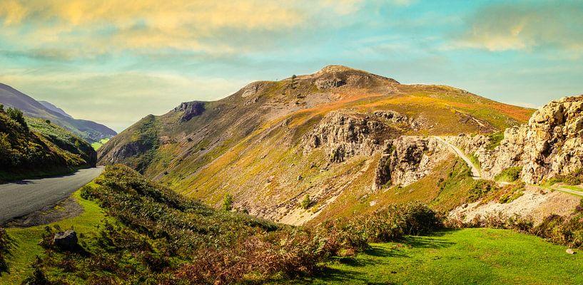 Avondzon op de heuvels van Wales, Groot Brittannië van Rietje Bulthuis