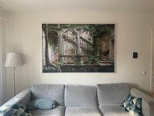 Klantfoto: Verlaten Trappenhal met grote boom in. van Kristof Ven, op canvas