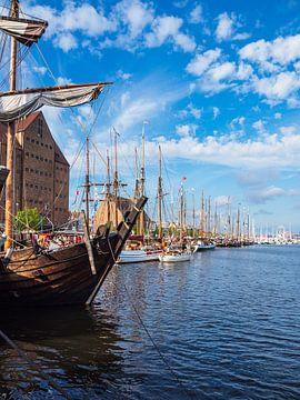 Segelschiffe auf der Warnow während der Hanse Sail in Rostock von Rico Ködder