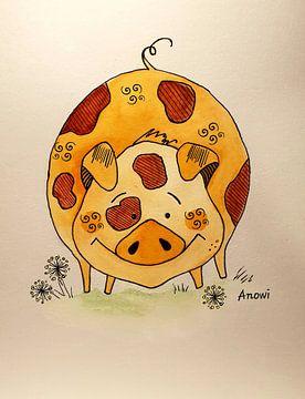 Happy pig sur Iwona Sdunek alias ANOWI