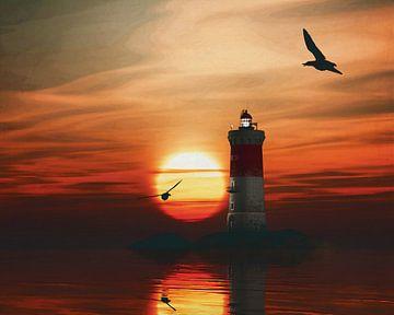 De vuurtoren van Pierre Noires met een zonsondergang en wervelende wolken