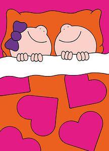Jongen en meisje in bed - kinderkamer van