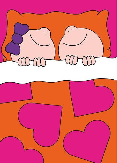 Jongen en meisje in bed - kinderkamer