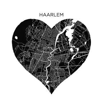 Haarlem in einem schwarzen Herz | Stadtpläne als Mauerkreis von Wereldkaarten.Shop