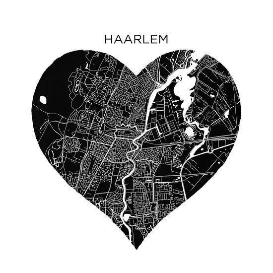 Haarlem in een zwarte hart | Stadskaarten als Wandcirkel
