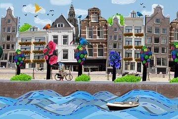 Amsterdamse grachtenpanden collage van Nicole Habets
