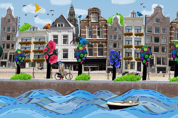 Amsterdamse grachtenpanden collage van Nicole Roozendaal