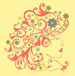 Vrouw met bloempjes