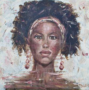 Ein abstraktes Gemälde einer afrikanischen Frau