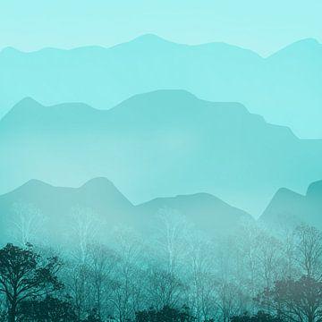 Blauer und nebliger Morgen von Kim van Beveren