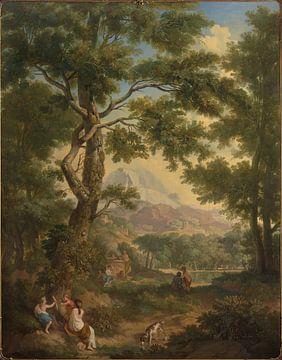 Arkadische Landschaft mit Kinder im Vordergrund, einem Vogel und einem Hund, Jurriaan Andriessen