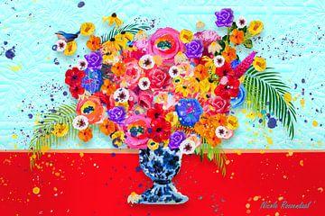 Vaas met bloemen van Nicole Roozendaal