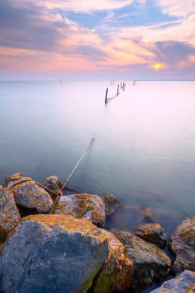 Dijk met vis fuik van Mark Scheper