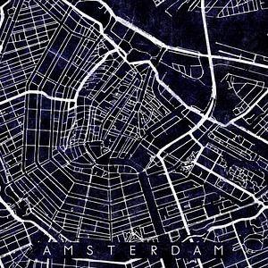 Amsterdam Stadskern Stratenplan Zwart/Paars