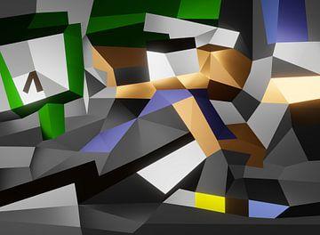 Een dynamische kubistisch kunstwerk met lopende personen van Pat Bloom - Moderne 3d en abstracte kubistiche kunst