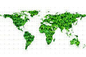 Weltkarte mit Blättern