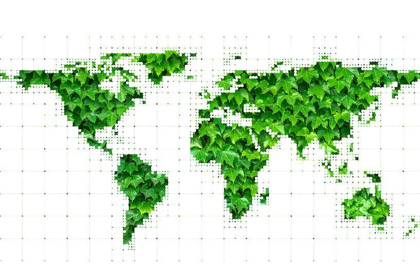 Wereldkaart met Bladeren van World Maps