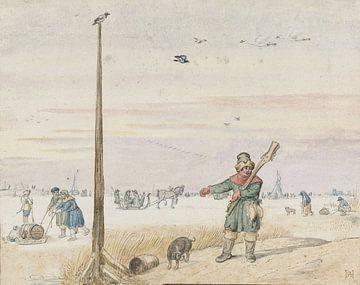 Entenjäger an einer Stange auf dem Eis, Hendrick Avercamp, 1595 - 1634